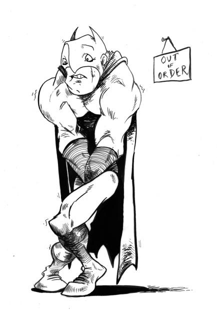 Even Superheroes need toilet breakes